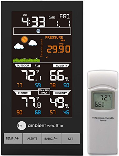 Ambient Weather WS-2801A Advanced Wireless Color Forecast Station with Temperature, Humidity and Barometer by Ambient Weather