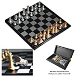 Itian Folding Magnetic Chess Board International Chess Gold and Silver Pieces with Storage Game Toy Set for Travel Outdoor Indoor Kids Adult Children 5 Years Old and up