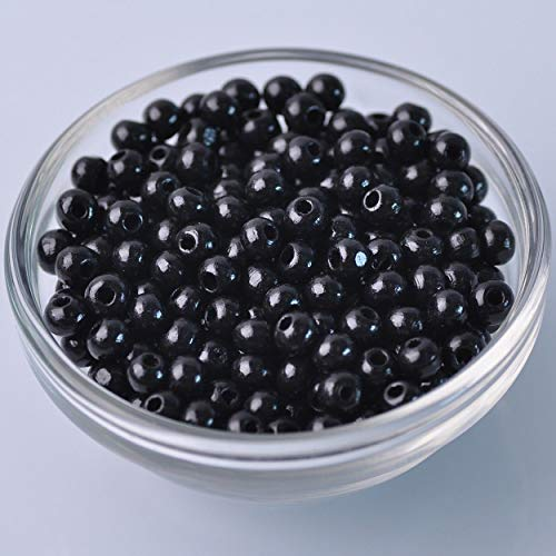 500pcs 6mm Black Round Natural Wood Loose Spacer Beads Wholesale Bulk Lot