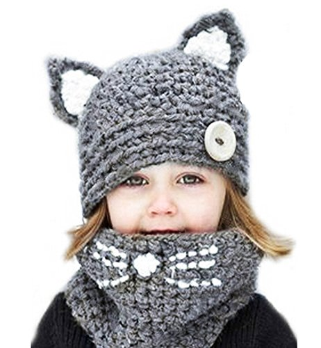 Sherrylily Toddler Cute Animal Crochet Knit Sweater Beanies Scarf Hat Set (Crochet Hat Pattern For 8 Year Old)