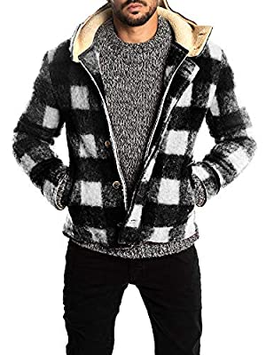Taoliyuan Mens Plaid Sherpa Lined Pea Coat Winter Warm Hoodie Wool Blend Single Breasted Duffle Jacket