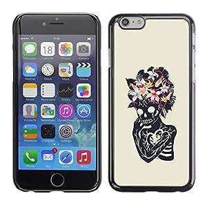 MobileHut / Apple Iphone 6 Plus 5.5 / Floral Heart Skull Skeleton Spring / Delgado Negro Plástico caso cubierta Shell Armor Funda Case Cover