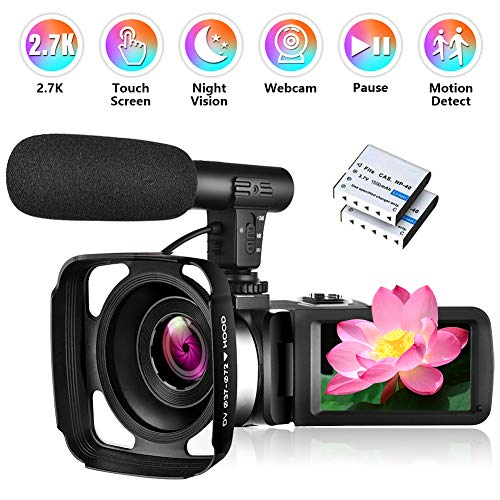 Camcorder Video Camera, Vlogging Camera Ultra HD 2.7K 30FPS 30MP, 3.0 Inch Touch Screen IR Night Vision Camcorders with Microphone, Lens Hood and 2 Batteries (HS2)