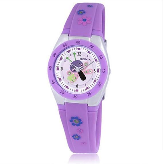 niños y niñas de dibujos animados reloj/Los niños observan a los estudiantes/reloj de cuarzo resistente al agua-D: Amazon.es: Relojes