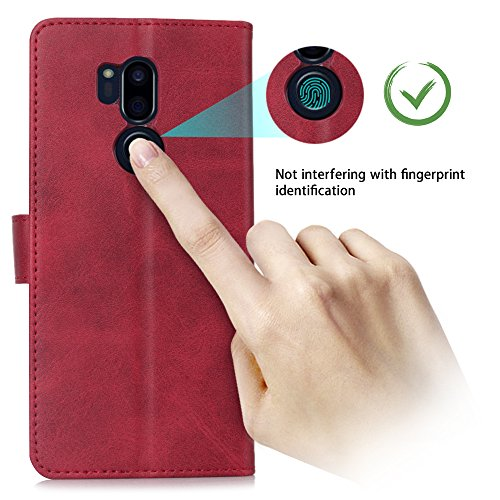 LG G7 Case/LG G7 ThinQ Case, Cress [Slim Fit] [Stand Feature] Flip Leather Wallet Case With Card Slot Magnetic Closure Bumper TPU For LG G7 (Red) by Cresee (Image #5)