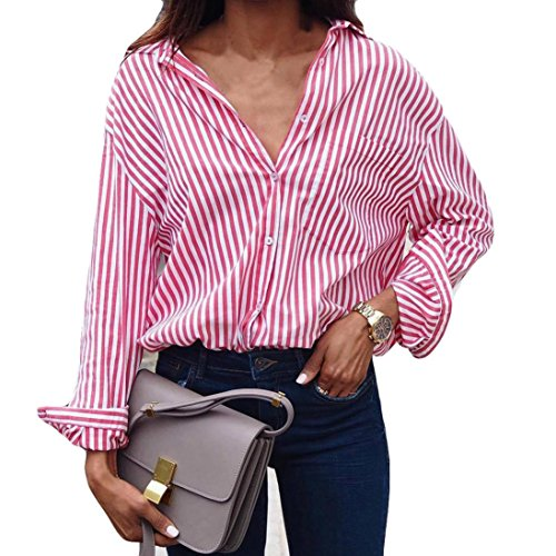 Women Blouse Tops Sexy Stripe Lady Casual Cotton Long Sleeve Loose Shirt Fashion Pink ()