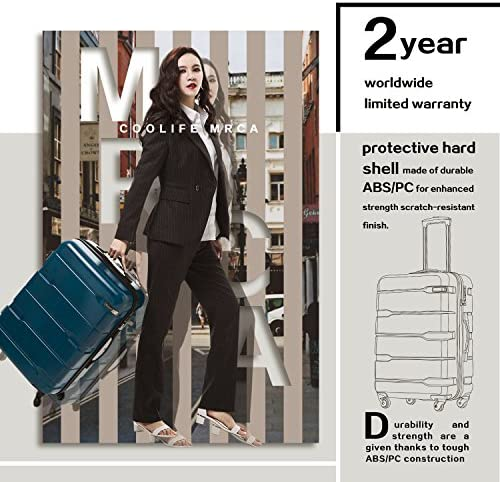 """Coolife Luggage Expandable(best 28"""") Suitcase PC+ABS Spinner Built-In TSA lock 20in 24in 28in Carry on"""