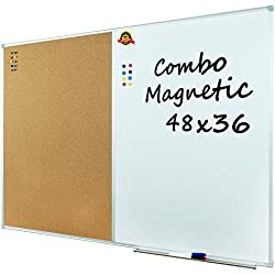 "Lockways Dry Erase Board & Cork Bulletin Board Combination - 48 x 36 inch Magnetic Whiteboard & Corkboard, 4 x 3 Feet, Ultra-Slim Silver Aluminium Frame (48""x36"", Sliver)"