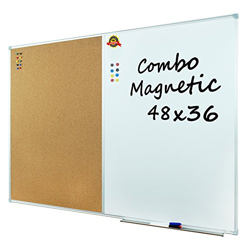 Lockways Dry Erase Board & Cork bulletin Board Combination - 48 x 36 Inch Magnetic Whiteboard & Corkboard, 4 x 3 Feet, Ultra-Slim Silver Aluminium Frame (48