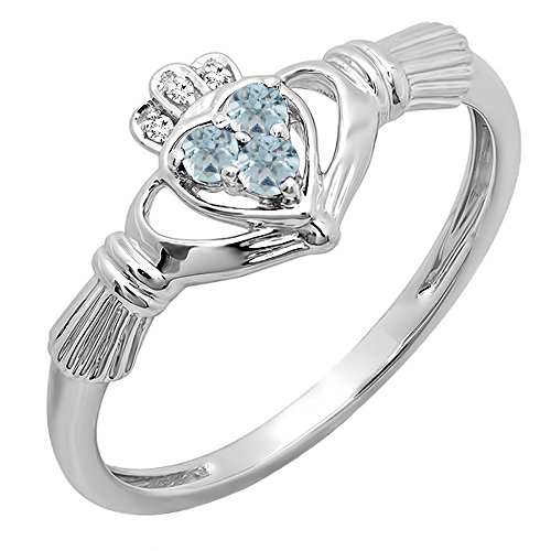 10K White Gold White Diamond And Aquamarine Bridal Promise Irish Love & Heart Shape Ring (Size 6.5)
