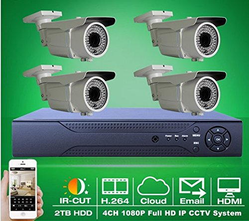 GOWE Onvif H.264 8CH NVR 2TB HDD Video CCTV System 1080P 2MP Varifocal 2.8-12mm Bullet IR IP Security Network Surveillance Cameras