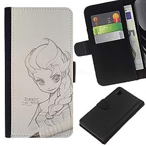 KLONGSHOP // Tirón de la caja Cartera de cuero con ranuras para tarjetas - Retrato a lápiz magna dibujo muchacha del arte - Sony Xperia Z1 L39 //