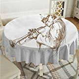 Lauren Russell Dining Round Tablecloth Music Jazz Man Playing Trumpet with a Pose Sketch Image Solo Show Artwork Print Green Brown White Outdoor Picnics Diameter 54'