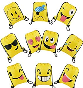 BeeGreen Emoji Party Supplies Favor Bags Drawstring Backpacks for Kids Teens Boys and Girls Birthday Goody Gift 10 Pack