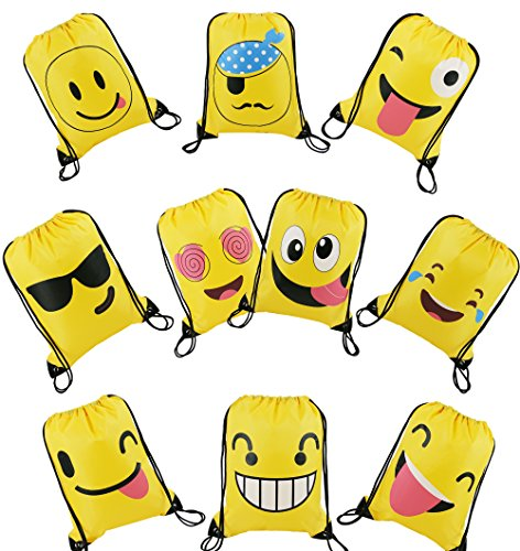Sleepover Party Games - Emoji Drawstring Backpack Bags 10 Pack Cute Designs, Gift Goody Birthday Party Favor Bags Supplies for Kids Teens Girls and Boys