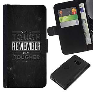 KingStore / Leather Etui en cuir / HTC One M9 / Tough Recuerde inspirada Piedra Gris