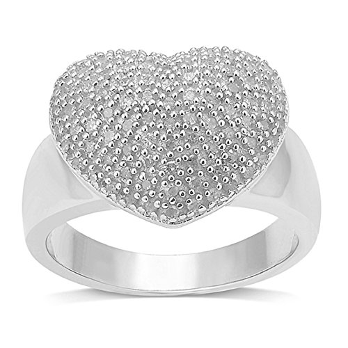 (Sterling Silver 0.50ct TDW Diamond Pave Heart Ring (H-I, I2-I3))