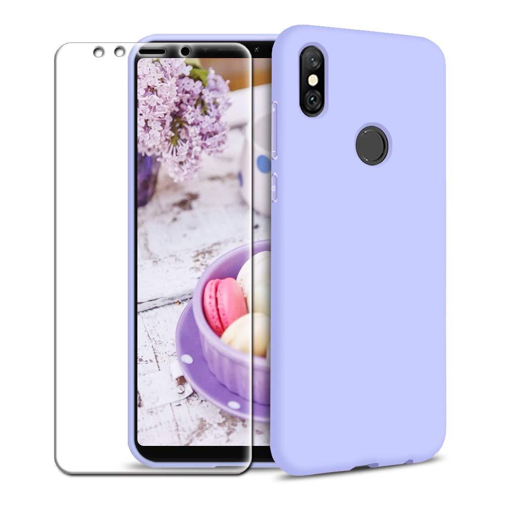 Funda Xiaomi Mi A2 + Protector de Pantalla de Vidrio Templado, Carcasa Ultra Fino Suave Flexible Silicona Colores del Caramelo Protectora Caso ...