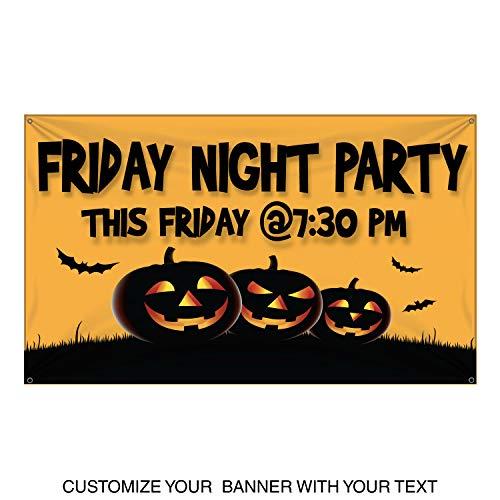 HALF PRICE BANNERS | Custom | Halloween Pumpkin Vinyl Banner | Heavy Duty Outdoor | 3'x5' Yellow | Free Bungees & Zip Ties | Easy Hang Advertising Sign | Business -