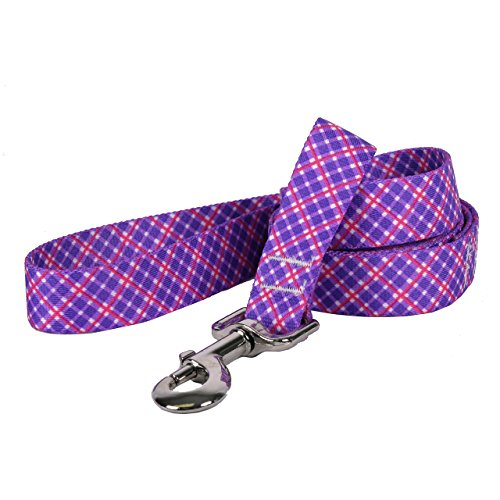 Design Dog Lead (Yellow Dog Design Purple and Pink Diagonal Plaid Dog Leash, Small/Medium-3/4