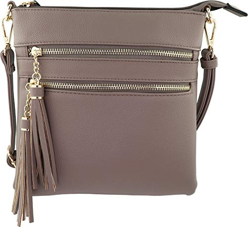 (Vegan Mini Multi-Zipper Crossbody Handbag Purse with Tassel Accents with RFID Protection (Stone)