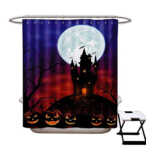 BlountDecor Halloween Shower Curtain Collection by Gothic Haunted House Castle Hill Valley Night Sky October Festival Theme Print Patterned Shower Curtain W36 x L72 Multicolor