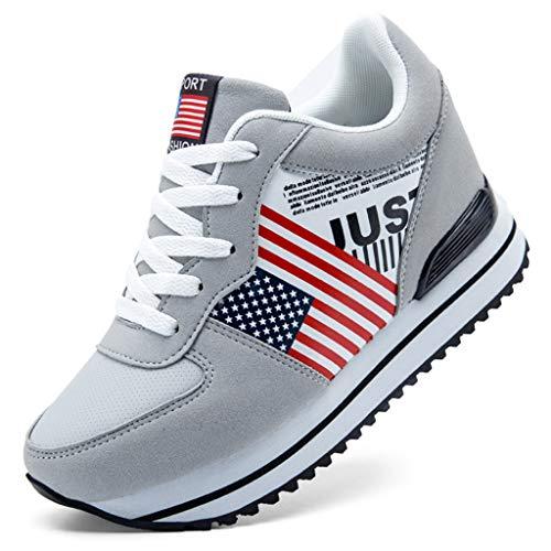 Botas Plataforma Deporte Sneakers Zapatillas Cuero Deportes Zapatos Aumentados Informal De Mujer Gris Adelgazar Casual Bobolover CnqfXZ7wX
