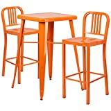 Flash Furniture 23.75'' Square Orange Metal Indoor-Outdoor Bar Table Set with 2 Vertical Slat Back Barstools