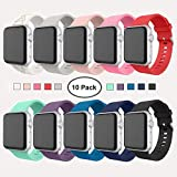 Apple Watch Series 3 Band 38mm, [10 Pack] Alritz Soft Silicone Strap Replacement Wristband with Stainless Steel Buckle Compatible Apple Watch Series 1/2/3/4/Nike+/Edition/Hermes (38mm)