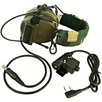 Z Tactical Headset Headphone With U94 PTT Kenwood 2 Way Pin Comtac II Noise Reduction Headset Walkie Talkie Dual PTT Olive Drab for Military Radio OD