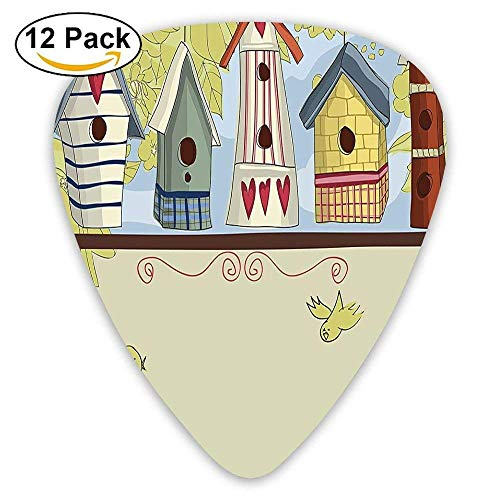 Gator Birdhouse - Row Of Birdhouses With Birds Hearts Leaves And Flowers Guitar Picks 12/Pack