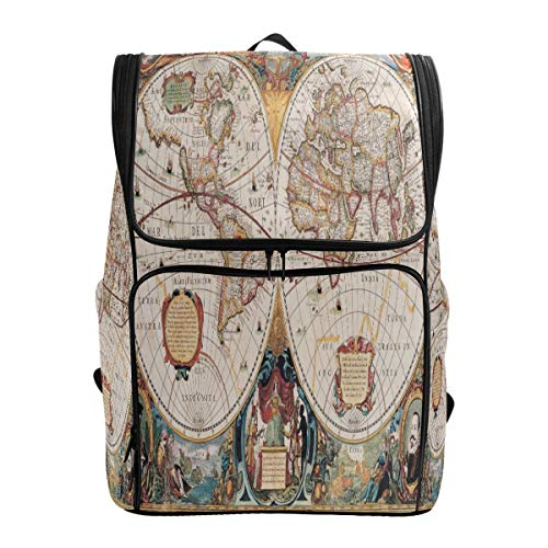 - ALAZA Antique Map Henricus Hondius Large Capacity School Backpack Bookbag for Collage Students Women Man Travel Hiking Camping Daypack 19x14x7 Inches