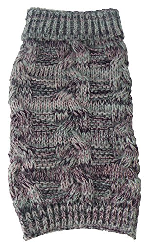 (PET LIFE 'Royal Bark' Heavy Cable Knitted Designer Fashion Pet Dog Sweater, X-Small, Light Grey, Dark Grey and Pink)