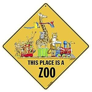 """Este lugar es un Zoo 12""""X 12"""" signo de aluminio"""