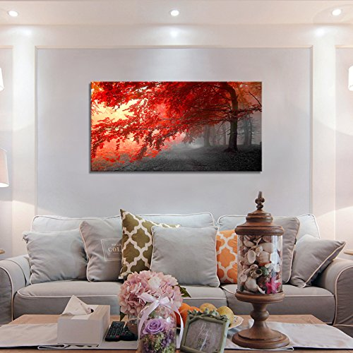 wall art Stretched Framed Ready Hang Flower Landscape Red Tree Flower Modern Painting Canvas Living Room Bedroom Office Wall Art Home Decoration by youkiswall art (Image #5)