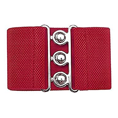 """Women Ladies Elasticated Corset Type Belt with Three Silver Hook Fastening Buckle – 3"""" (7.62 CM) by Trimming Shop® BL-13"""