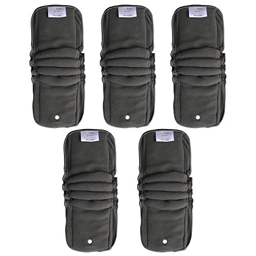 EcoAble Baby Charcoal Bamboo Snap-in Inserts with Anti-Leak Gussets for Ai2 Cloth Diapers & Covers (5-pack)