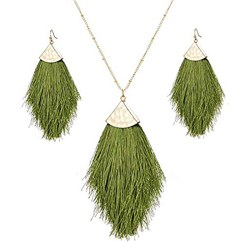 Green Tassel Statement Jewelry Set Fringe Feather Drop Earrings Long Necklace for - Earrings Necklace Fringe