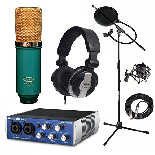 Presonus AudioBox Home Recording Bundle MXL V67G Mic Stand Filter MH110 Headphones (Mxl V67g Condenser Microphone compare prices)