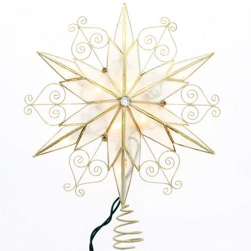 Kurt Adler 10Light 6Point Capiz Star Treetop with Scroll Design