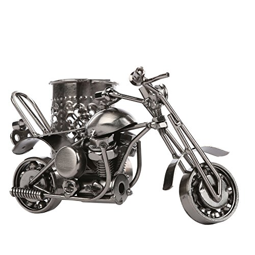 MyGift Motorcycle & Sidecar Pencil Cup, Office Desktop Pen Holder, Gunmetal Gray Photo #3