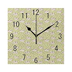 YABABY Square Wall Clock Battery Operated Quartz Analog Quiet Desk 8 Inch Clock, Composition of Bulls Cows and Flowers in Cartoon Style Cheerful Livestock Theme
