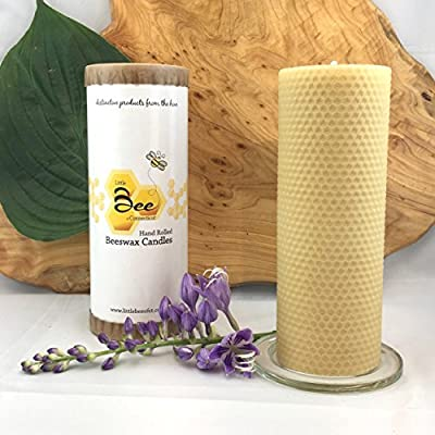 "8"" Hand Rolled Beeswax Pillar Candle - Little Bee of Connecticut, Martha Stewart American Made Maker"