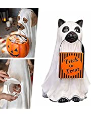 """Ghost Dog/Cat Candy Bowl Holder, 9.8"""" Resin Wizard Ghost Dog Buckets with """"Trick or Treat"""" Character, Halloween Pumpkin Snack Bowl Stand, Candy Bowl for Halloween Party Decorations (Cat)"""