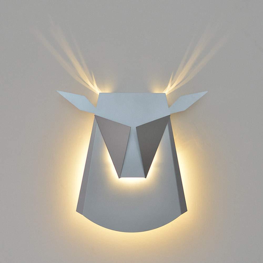 IBalody Nordische Elchkopf-Geweih-geführte Wandlampen Moderne einfache Metalleisen-Wandlaterne beleuchtet kreatives Wohnzimmer Schlafzimmer Nachttreppengang Gang-Haus Deocraiton-Wandleuchte