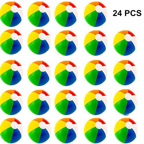 Beach Balls (24 Pack) - Inflatable Rainbow Beach Balls Beach Pool Party Toys Party Favors by FairyStar