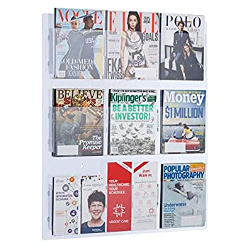 Image of AdirOffice Hanging Magazine Rack with Clear Acrylic Adjustable Pockets, 29'x35' Home and Kitchen