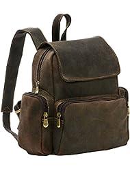 LeDonne Womens Distressed Leather Multi-Pocket Backpack, Choc