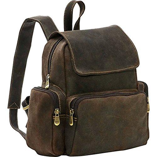 ledonne-womens-distressed-leather-multi-pocket-backpack-choc
