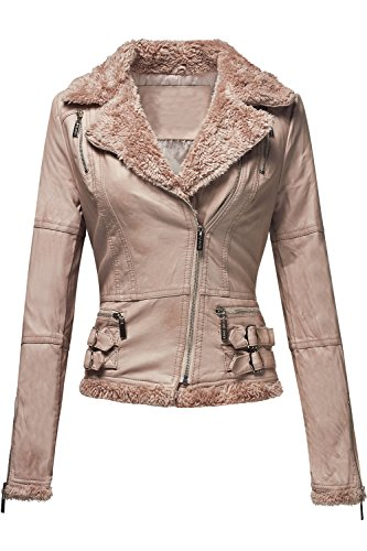 Faux Leather Fur Collar Zip Up Long Sleeve Moto Jackets 013-Pale Pink X-Large